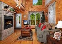 Jungle Love: 1 bedroom, 2 bathrooms, sleeps 6. Great for the small family or romantic getaway, welcome to Jungle Love! This beautiful log home is located just a few short minutes to downtown Pigeon Forge and the Great Smoky Mountains National Park. Jungle Love has warm wood finishes, tasteful decor and comfortable furnishings to complete the package. #fun #family #view #mountains