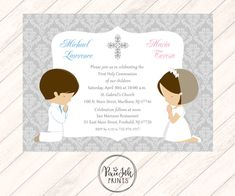 9 Best TWIN COMMUNION INVITATIONS Twin Invites Sibling