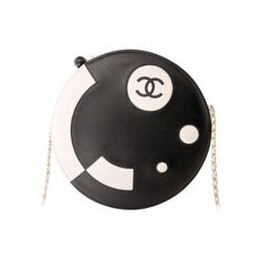 Chanel - CHANEL BLACK/WHITE LAMBSKIN ROUND LIMITED EDITION RUNWAY BAG ❤ liked on Polyvore