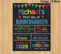 First Day of Kindergarten Sign First Day of School Chalkboard