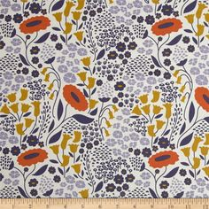 Designed by Elizabeth Olwen for Cloud 9 Fabrics, organic cotton fabric is perfect for quilting, apparel and home decor accents. This certified 100% organic cotton print meets the GOTS certification; only low impact, organic dyes were used in this product. Colors include grape, orange, gold and white.