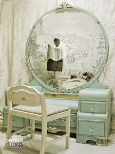 Antique Vintage Art Deco Waterfall Dressing Table Vanity Gets an Aqua Blue Facelift by Prodigal Pieces www.prodigalpieces.com #prodigalpieces