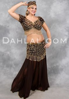 SATEENA in Chocolate and Gold by Rising Stars, Egyptian Belly Dance Costume - Dahlal Internationale Store
