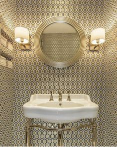 Powder room wallpaper option Cole & Son David Hicks wallpaper + Catchpole & Rye basin by Amber Design Group David Hicks, Downstairs Cloakroom, Downstairs Toilet, Guest Toilet, Small Toilet, Hexagon Wallpaper, Wallpaper Ideas, Trendy Wallpaper, Gold Wallpaper