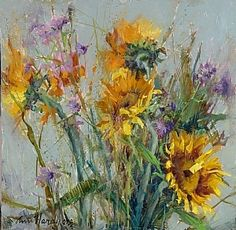 Sunflowers in Red Box by Ann Hardy Oil ~ 24 x 18