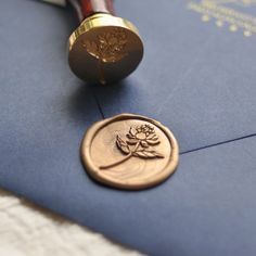 Traditional Wax Seal Stamp with Peony flower design. Designed by Seniman Calligraphy Seal Size: inch) Wedding Stationery, Wedding Invitations, Invites, Wax Stamp, Wax Seal Stamp Kit, Custom Stamps, Custom Wax Seal Stamp, Tampons, Letter Writing