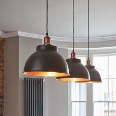 Large Pendant Lighting, Copper Lighting, Industrial Pendant Lights, Kitchen Lighting Fixtures, Kitchen Pendant Lighting, Kitchen Pendants, Dining Room Lighting, Pendant Lighting Over Dining Table, Black Pendant Light