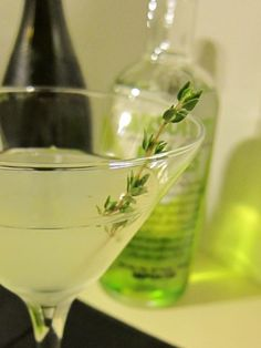 Pear Thyme Vodka Sparkler -     1 bunch of fresh thyme  1 1/2 oz pear vodka  3/4 oz thyme infused simple syrup   1/2 oz fresh lemon juice  1 1/2 oz chilled dry sparkling wine or Champagne