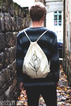 "Turnbeutel ""Löv"" / tote bag to match the hipster style, leaf by BlossomOut via DaWanda.com"