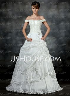 Wedding Dresses - $187.69 - A-Line/Princess Off-the-Shoulder Court Train Taffeta Wedding Dresses With Ruffle Lace Beadwork (002017193) http://jjshouse.com/A-Line-Princess-Off-The-Shoulder-Court-Train-Taffeta-Wedding-Dresses-With-Ruffle-Lace-Beadwork-002017193-g17193