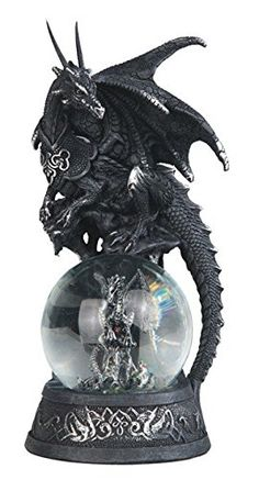 This gorgeous black Dragon on baby grey Dragon snow globe decorative Statue has the finest details and highest quality you will find anywhere! black Dragon on b Clay Dragon, Dragon Art, Water Dragon, Fantasy Creatures, Mythical Creatures, Greek Statues, Buddha Statues, Mystical Animals, Globe Decor
