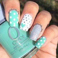 Orly. Green nails. Nail art. Nail design. Polish. Instagram by nailsby_ana Romantic.