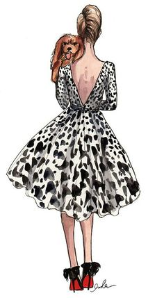 gabrielajay:  Drawing Fashion: Spotted    …Wishes!!! … Life's Pleasures??  ♔