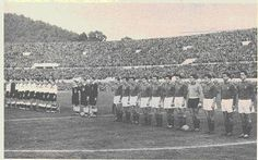 Italy 2 West Germany 1 in Dec 1955 in Rome. The teams line up before 100,000 fans for this friendly encounter.