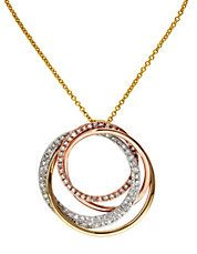 14K Tri Colour Gold Diamond Pendant