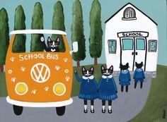 Back to School  Original Cat Folk Art Painting by KilkennycatArt
