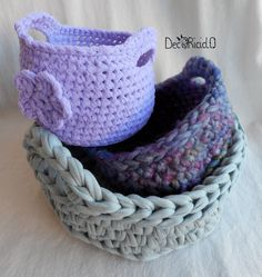 decoriciclo: Cestini di fettuccia, di lana, di tulle; idea regalo all'uncinetto facile e veloce, con spiegazioni