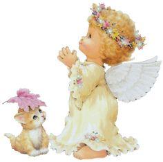 ange qui prie avec son chat