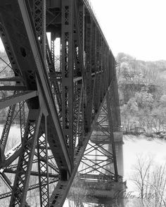 High Bridge Railroad Trestle, Kentucky, Black and White Photograph