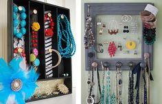 Ящики и картины с крючками в качестве подставки для украшений