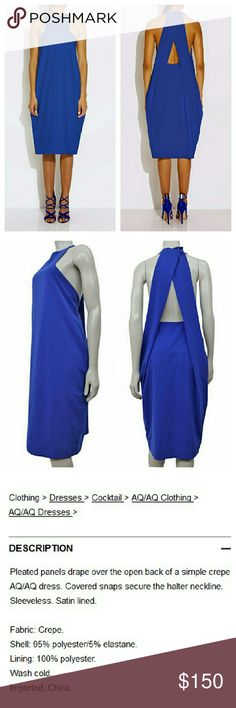 AQ/AQ Cobalt Blue Avant Garde Cut Out Back Dress Like new. Sold out on Revolve clothing and Asos. ASOS Dresses