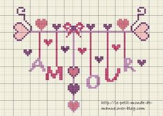 amour - love - mot -  point de croix - cross stitch - Blog : http://broderiemimie44.canalblog.com/