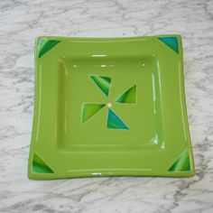 "Green 12"" square fused glass tray with blue green accents, via Etsy.  $85"