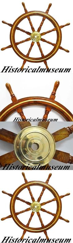 """Boat VINTAGE Ship Wheel 36/"""" Wooden Anchor /& Strips With Brass Handles Wall Decor"""