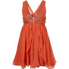 Scatter Beaded Babydoll Dress By Dress Up Topshop** ($85) ❤ liked on Polyvore featuring dresses, vestidos, short dresses, orange, women, mini dress, red mini dress, baby doll dress, babydoll dresses and short red dress