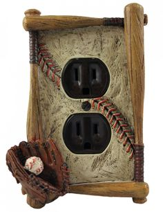 The Textured Element - Baseball Themed Single Outlet Electrical Coverplate, $9.97 (http://thetexturedelement.com/tte-tykes/kids-room-decor/baseball-themed-single-outlet-electrical-coverplate/)