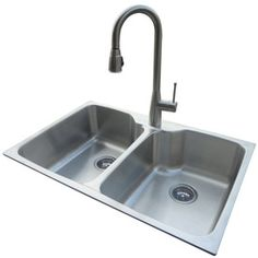 American Standard�20-Gauge Double Basin Drop-In or Undermount Stainless Steel Kitchen Sink with Faucet