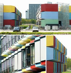 Utrecht University Student Housing in the Netherlands made of Containers Box Architecture, Colour Architecture, Container Architecture, Architecture Student, Residential Architecture, Utrecht, Student House, Student Living, Prefab Buildings