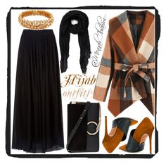 """""""#Hijab_outfits #modesty #Black #Winter"""" by mennah-ibrahim on Polyvore featuring Les Copains, BP., Balmain, LC COLLECTION and Chloé"""
