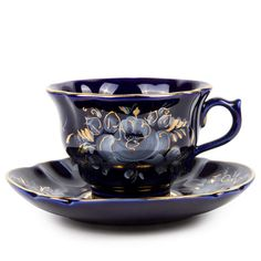 Gzhel Hand-painted Orchid Gold Plated Porcelain Teacup and Saucer Blue and White Porcelain Cup And Saucer Set, Tea Cup Saucer, Russian Tea, Antique Tea Cups, Cuppa Tea, My Cup Of Tea, Antique China, White Porcelain, Tea Party