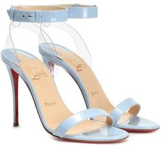Christian Louboutin Jonatina 100 patent leather sandals in periwinkle blue and clear plastic heel Glitter Sandals, Metallic Sandals, Leather Wedge Sandals, Leather Wedges, Patent Leather, Black Louboutin Heels, Christian Louboutin Heels, Stiletto Heels, Baby Blue Heels
