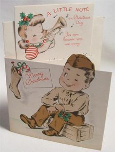 vintage military serviceman/soldier World War II XMAS CARD boy, girl with bugle