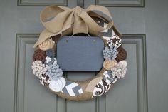 Burlap Wreath/Chalkboard/Fabric, Felt and Burlap Flowers/Roses/Leaves/Chevron/Everyday/Spring/Summer/Fall/Winter via Etsy