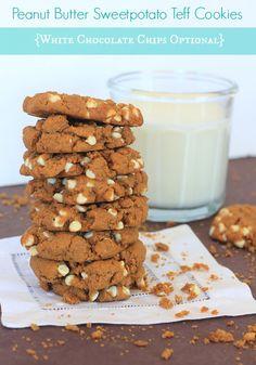 White Chocolate Peanut Butter Sweetpotato Teff Cookies #vegan