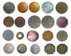 """Historical Trade Tokens Trade tokens have a long and interesting history. They were used during the fur trade in exchange for pelts, and factory and agricultural workers were paid with tokens to make employees shop at the company store. Trade tokens promising free beer were handed out as advertisements for saloons, and tokens have occasionally taken the place of currency when it was scarce. """"Hard Times Tokens"""" from the early 1800s were stamped with political satire. On a more personal note…"""