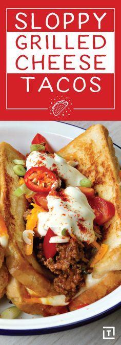 Sloppy Grilled Cheese Taco Recipe Video - Thrillist