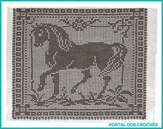 PORTAL DOS CROCHÊS: CROCHÊ DE FILÉ - CAVALO Cross Stitch Horse, Cross Stitch Alphabet, Cross Stitch Charts, Cross Stitch Patterns, Crochet Skull Patterns, Hand Embroidery Patterns, Cross Stitch Embroidery, Filet Crochet Charts, Crochet Diagram