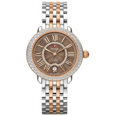 Michele Watches Serein Diamond, Enamel, 18K Rose Goldplated &... ($2,520) ❤ liked on Polyvore featuring jewelry, watches, apparel & accessories, diamond dial watches, diamond bezel watches, rose watches, crown jewelry and enamel watches
