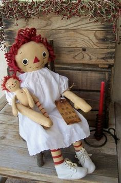 RAGGEDY ANN ~ Primitive Heirloom Antique Baby Gown & Shoes on Raggedy Ann Doll and Baby Annie