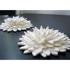 lotus flower sculptures made of oven-baked Sculpey clay, air dry clay, or salt dough