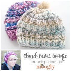 Cloud Cover Beanie - free #knit pattern on Mooglyblog.com! Make it with just 1 ball of Lion Brand Color Clouds and size 17 (12mm) knitting needles.