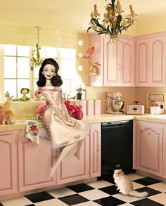 Barbie Doll in Sweet Day. by little dolls room, via Flickr  (prettiest pink kitchen cabinets I ever saw..lol) kj