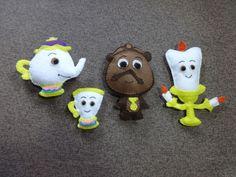Coleção de bonecos a bela e a fera - Zip, Madame samovar, Lumier, relógio - Disney