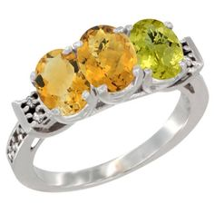 10K White Gold Natural Citrine, Whisky Quartz and Lemon Quartz Ring 3-Stone Oval 7x5 mm Diamond Accent, sizes 5 - 10 >>> Hurry! Check out this great product : Jewelry Ring Bands