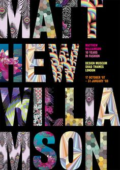 poster for mw retrospective exhibition: matthew williamson - 10 years in fashion by park studio