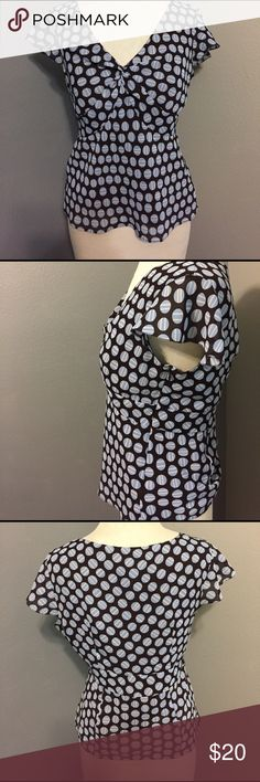 LOFT polka dot Blouse Polka dot top from loft with zipper side and ruffle details! LOFT Tops Blouses
